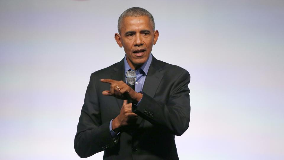 Former US president Barack Obama addresses the crowd as the last speaker at final session of the Obama Foundation Summit.
