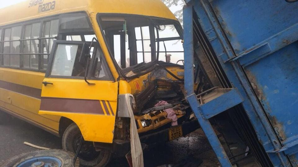 Four students injured,school bus collides with tractor trolley,Talwandi Sabo