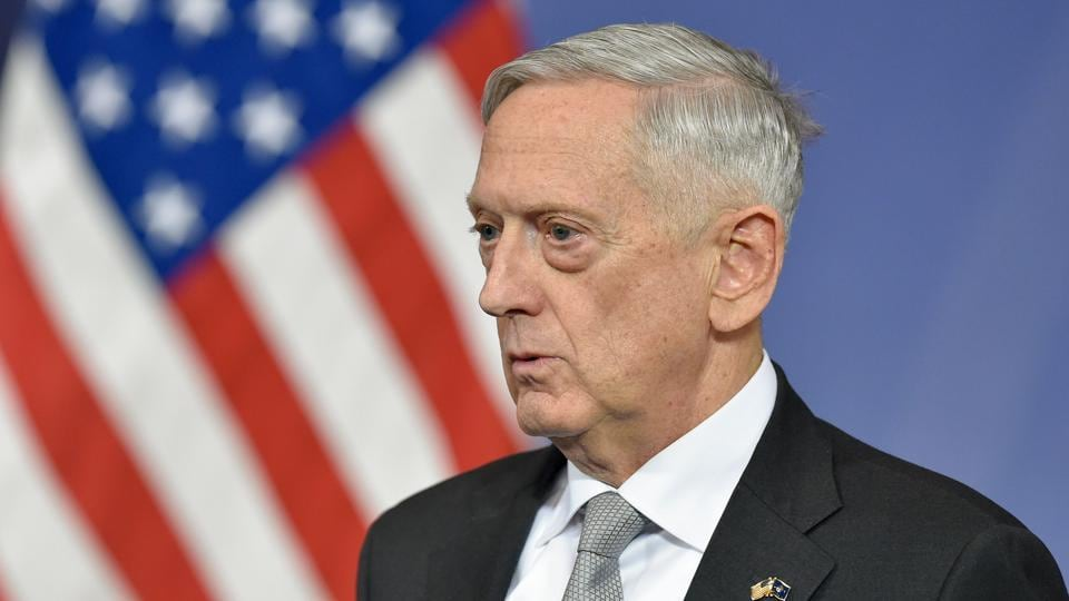 US Defense Minister James Mattis delivers a press conference during the second day of a defence ministers meeting at NATO headquarters in Brussels on November 9, 2017.