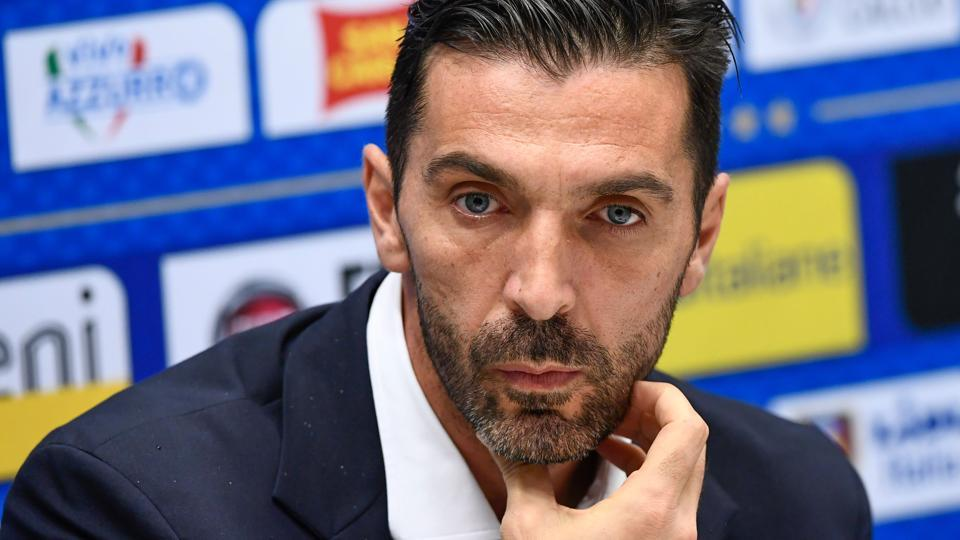 Italy captain Gianluigi Buffon addresses a press conference on the eve of their 2018 FIFA World Cup qualifier against Sweden.