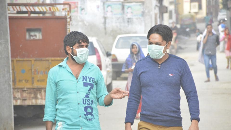 Face masks have become common in the district.