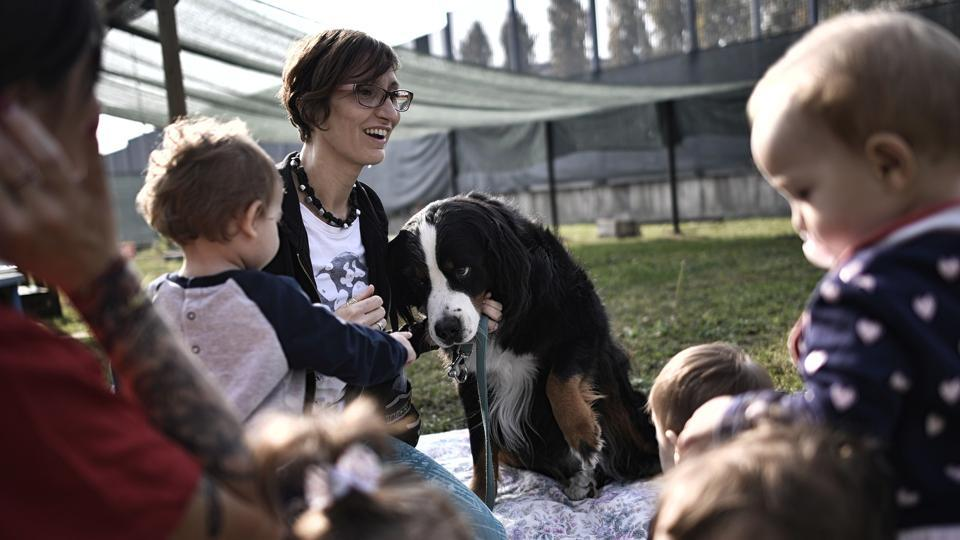 Children meet a dog during an exercise at the Bollate Penitentiary nursery, on October 12, 2017 in Italy. Located in the grounds of Milan's medium security Bollate prison, a novel kindergarten welcomes the children of detainees, guards and local residents to what staff describe as an innovative and successful social experiment. (Marco Bertorello  / AFP)