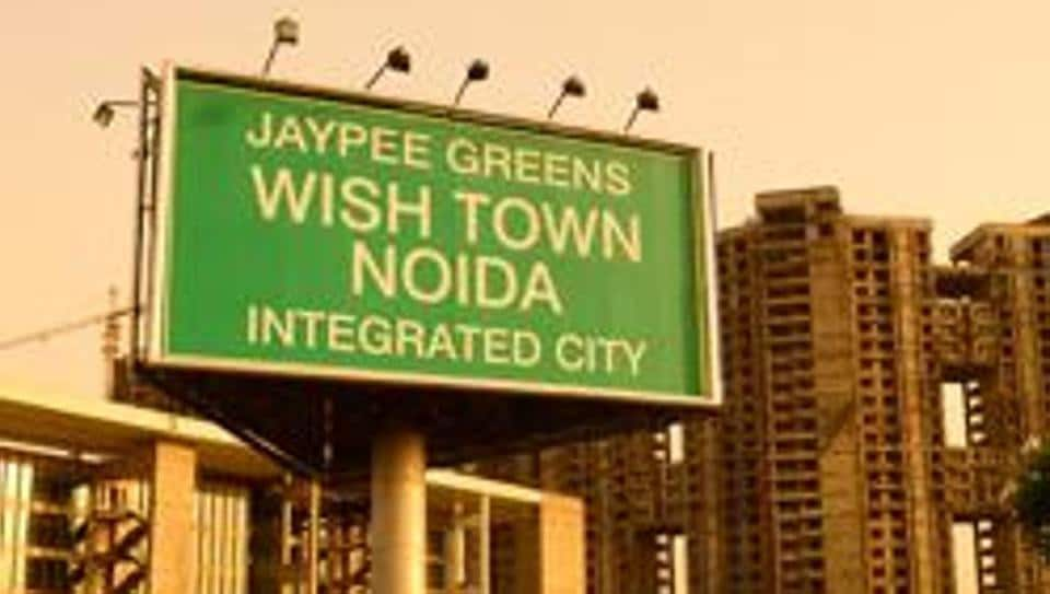 A file picture of a billboard advertising Jaypee's  housing project Wish Town in Noida.