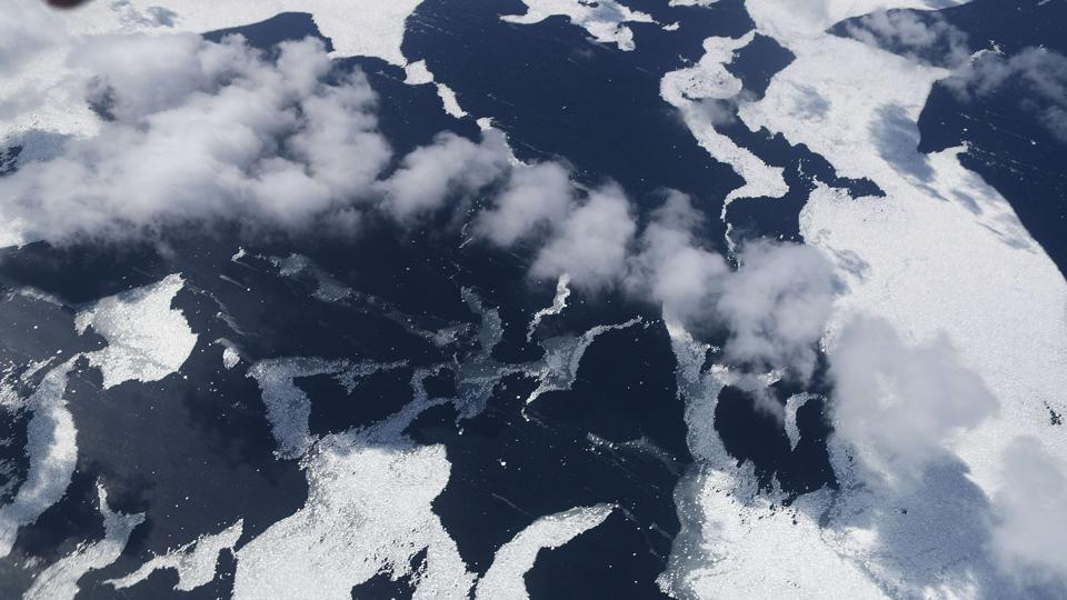 Sea ice is seen in the Antarctic Peninsula region above Antarctica. Operation IceBridge images Earth's polar ice in unprecedented detail to better understand processes that connect the polar regions with the global climate system. (Mario Tama / Getty Images / AFP)