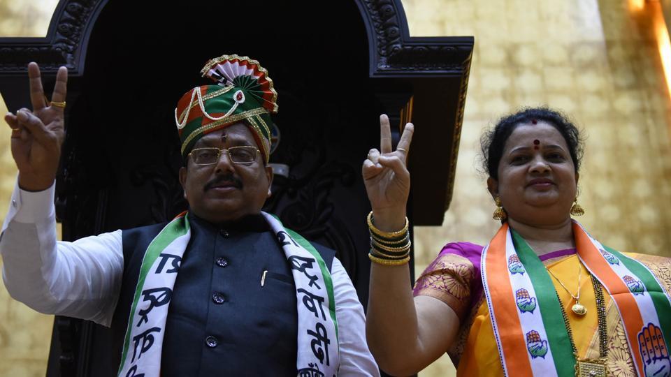 Newly elected Navi Mumbai mayor Jaywant Sutar and deputy mayor Mandakni Mhatre at NMMC headquarters at CBD Belapur on Thursday.