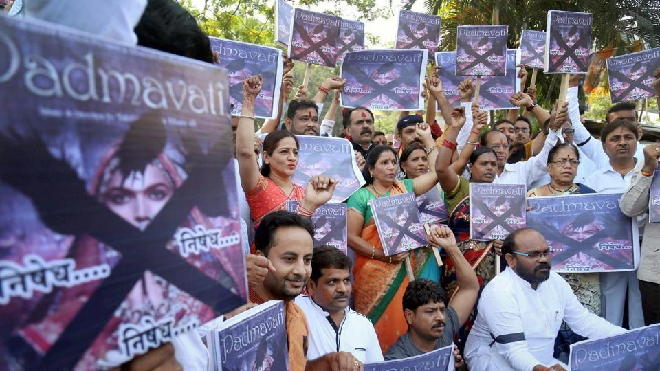 Rajasthan Rajput Parishad activists protest against filmaker Sanjay Leela Bhansali's upcoming movie Padmavati in Mumbai on Friday. Hundreds of people associated with various community organisations on Thursday took out a morcha in Mumbai demanding a ban on Padmavati.