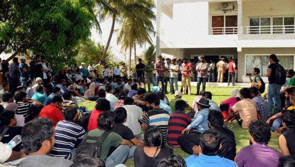University of Hyderabad,Co-ed hostel,Student agitations