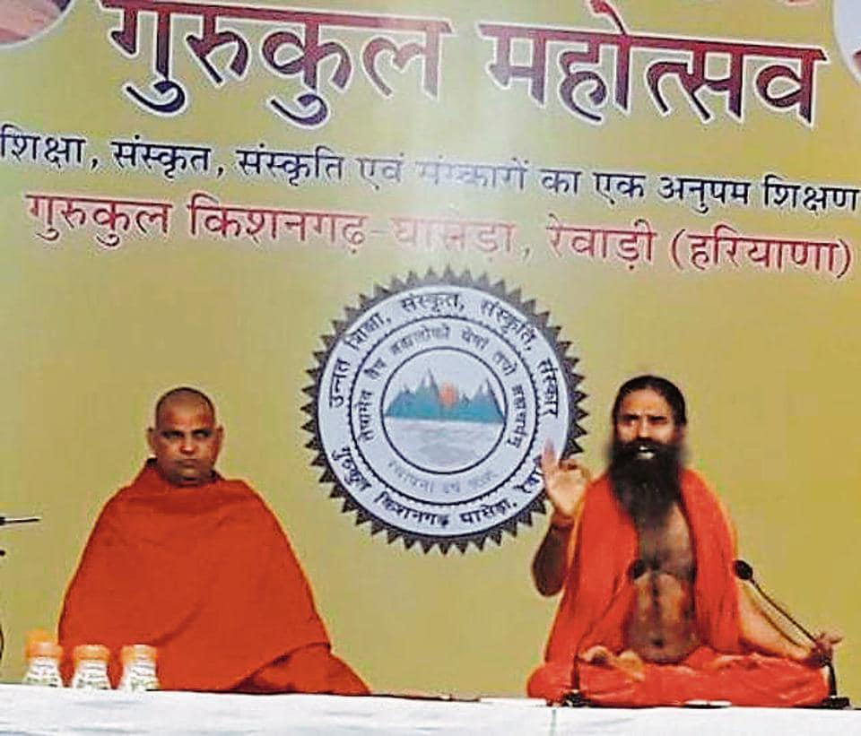 Yoga guru Ramdev during a function at Kishangadh Gurukul in Rewari on Friday.