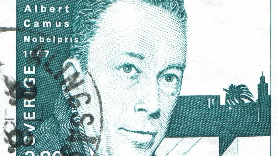 A 1990 Albert Camus stamp printed by Sweden . Camus was married to pianist and mathematician Francine Faure, and his infidelity drove his wife to distraction and depression.
