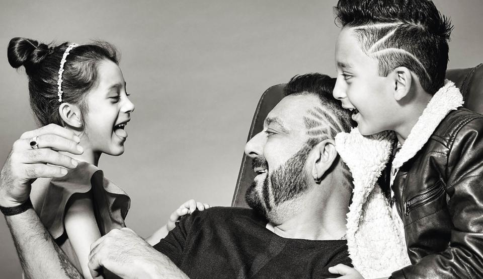 Sanjay Dutt has fit into the role of a doting dad to his adorable seven-year twins, Shahraan and Iqra with an ease that has taken even him by surprise   (Prabhat Shetty)
