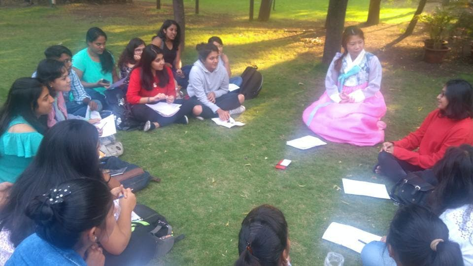 The first Indo Korean Culture Group meet organised on the NFAIlawns on Friday.