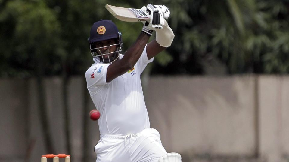 Sri Lanka's Angelo Mathews plays a shot on the first day of their two-day warm up match. (AP)