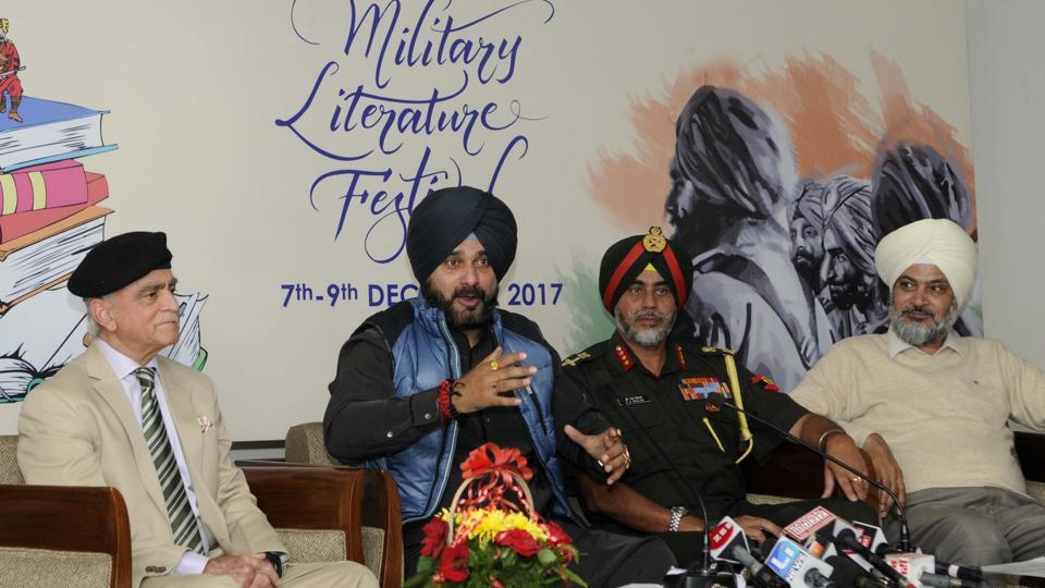 Punjab minister Navjot Singh Sidhu addressing a press conference regarding the Military Literature Festival in Chandigarh.