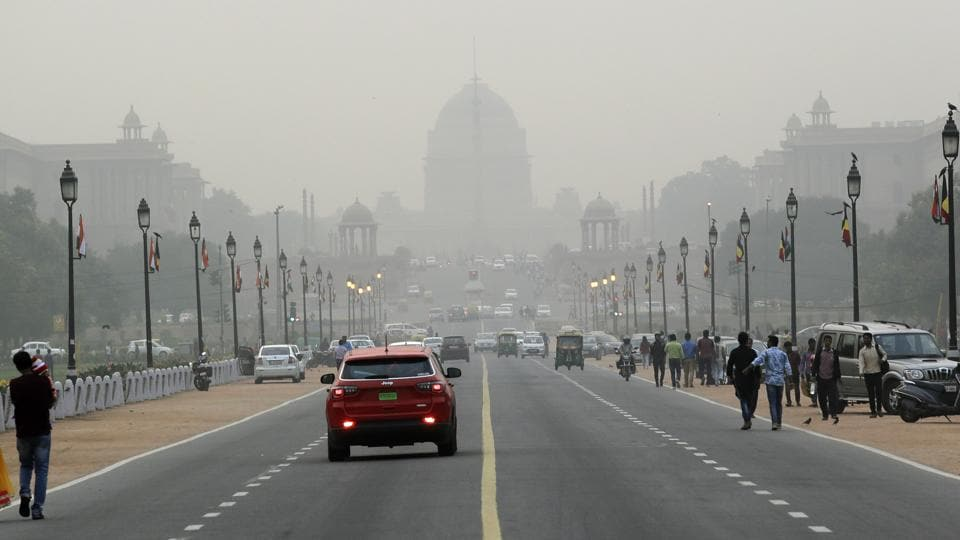 Raisina hills is seen enveloped in a thick blanket of smog in New Delhi. As air pollution peaked this week in Delhi, it rose to more than 30 times the World Health Organization's recommended safe level.
