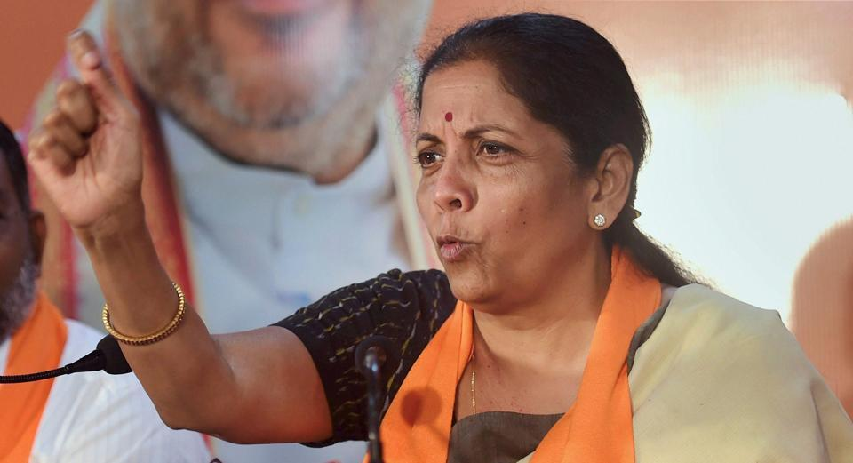 Union defence minister Nirmala Sitharaman addresses a press conference, in Ahmedabad.