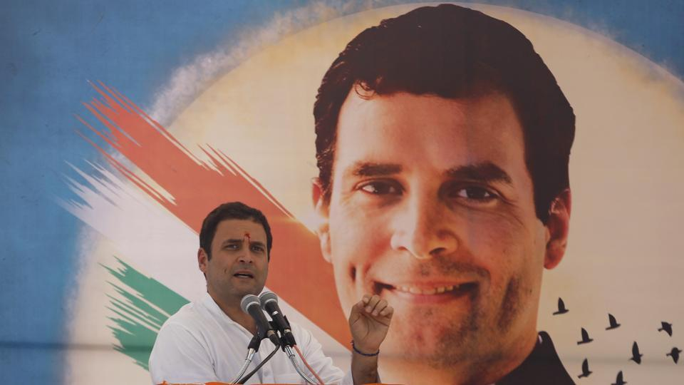 Congress vice president Rahul Gandhi speaks during a public meeting at Prantij in Gujarat's Sabarkantha district.