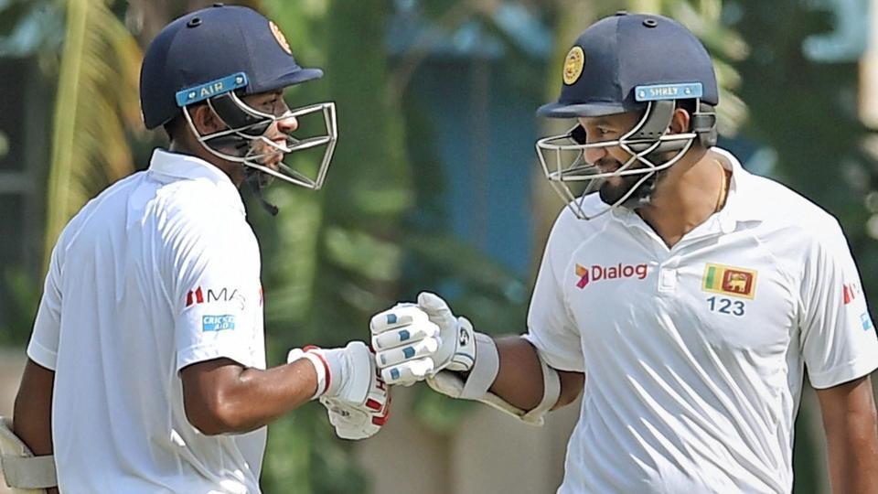 Sri Lanka batsman Sadeera Samarawickrama (L) being greeted by Dimuth Karunaratne (R) during their warm-up game in Kolkata. (PTI)