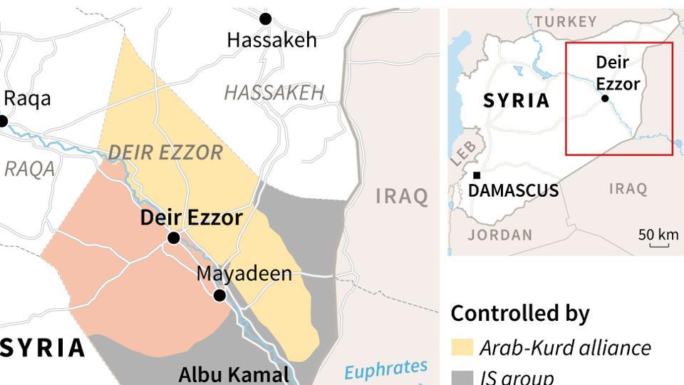 Map showing zones of control around the eastern Syrian city of Deir Ezzor and locating Albu Kamal, where IS group fighters and Syrian regime forces are engaged in fierce fighting.