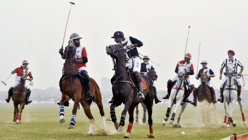 Polo players in action during the Westren Command Polo Challenge at The Patiala Polo and Riding Club in Patiala on Saturday.