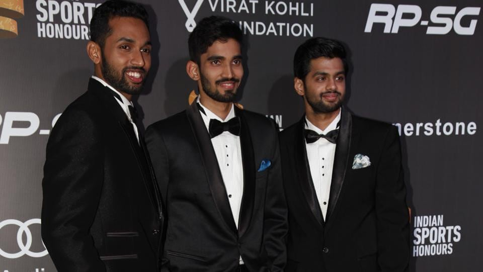 Indian badminton stars HS Prannoy, Kidambi Srikanth and B Sai Praneeth at the ceremony. (HT Photo)
