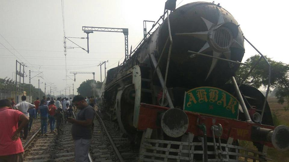 The steam engine that derailed 2km from the Railway Heritage Museum in Rewari where it has been kept, on Saturday.