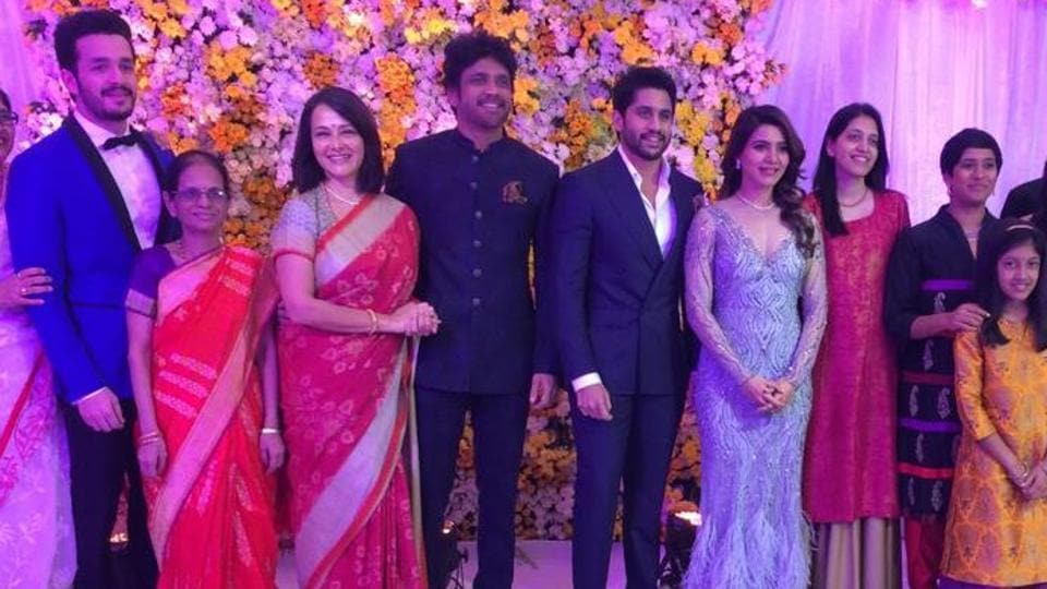 Akhil Akkineni Amala Nagarjuna Naga Chaitanya And Samantha At The Wedding Reception