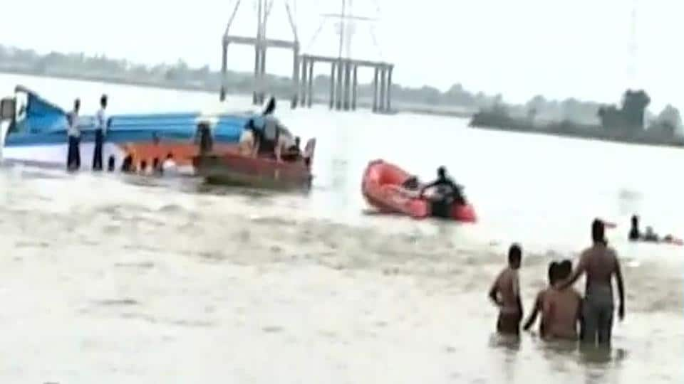 Rescue and search operations underway as a boat carrying 41 passengers capsized near Vijayawada on Sunday.