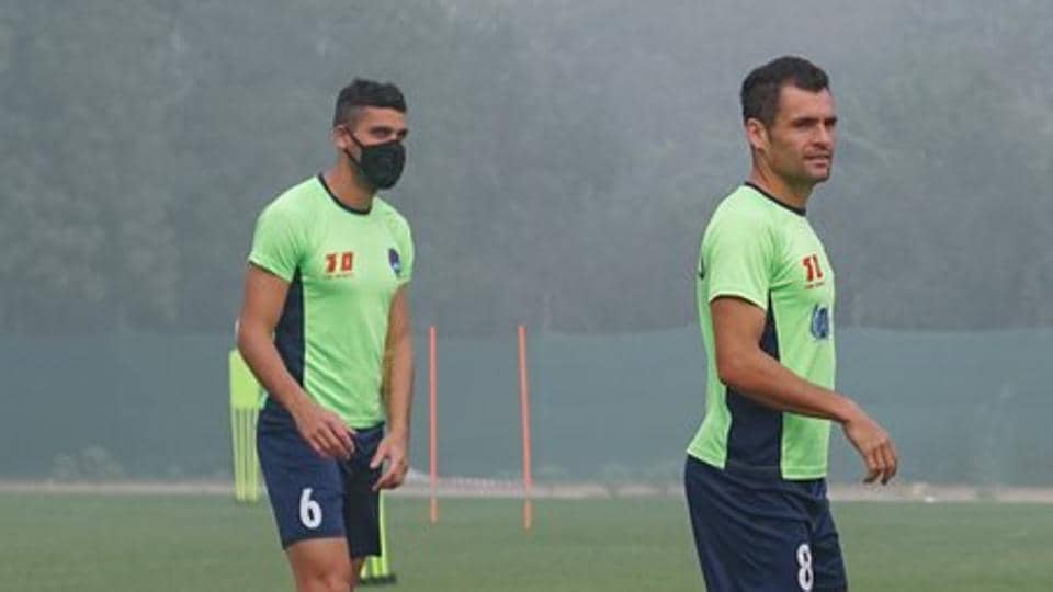 Some of the Delhi Dynamos players have been wearing masks during training to protect themselves from the hazardous levels of air pollution in the city.