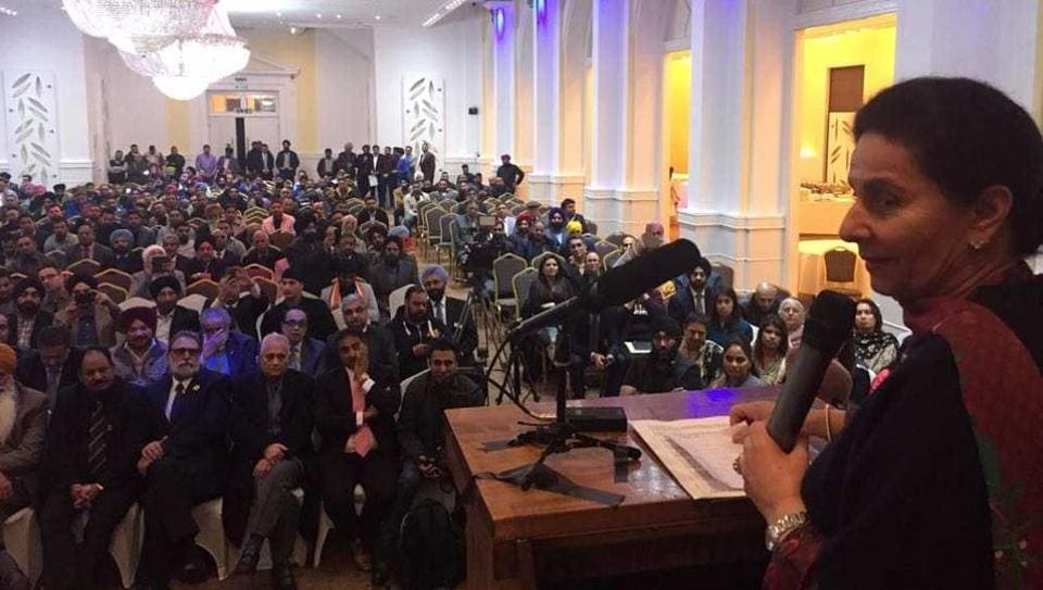Preneet Kaur speaking at a function organised by a newly constituted team of the Indian Overseas Congress (IOC) at London's South Hall