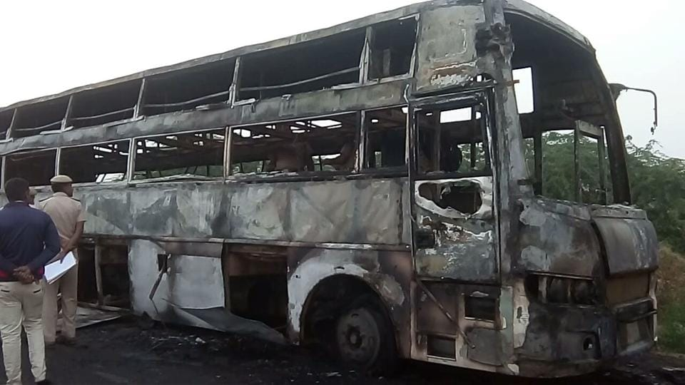 Charred remains of a Rajasthan State Road Transport Corporation  bus that caught fire on way to Barmer from Jaipur on Sunday morning killing a  25-year-old woman and her two-year-old daughter.