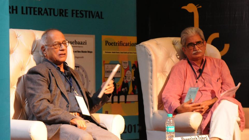 Hindi poet Manglesh Dabral (left) in conversation with critic Asad Zaidi during the 6th Chandigarh Literature Festival at Panjab University in Chandigarh on Saturday.