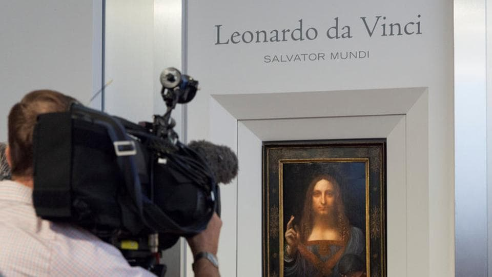 Salvator Mundi, an ethereal portrait of Jesus Christ which dates to circa 1500, the last privately owned Leonardo da Vinci painting, is on display for the press at Christie's auction in New York, US.
