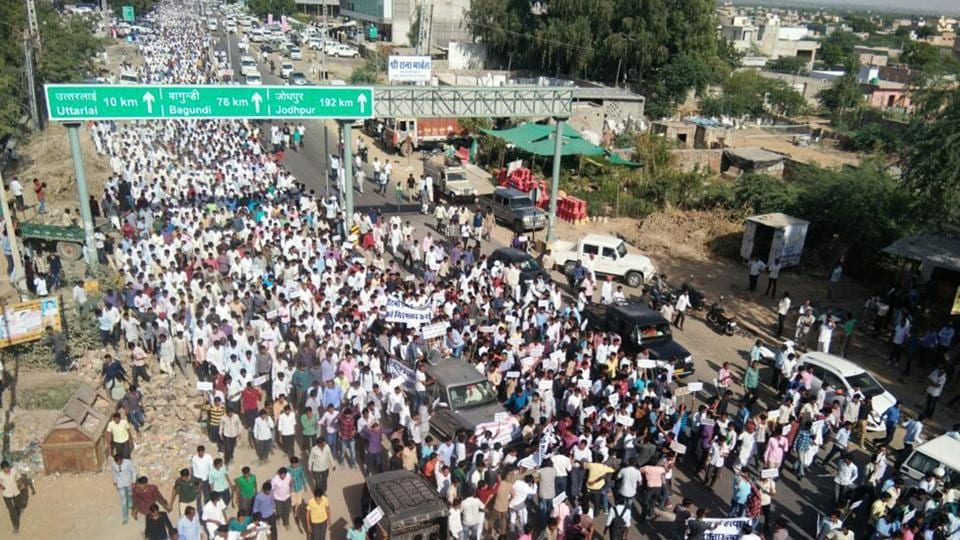 The recent protest by the Jat community  over Virmaram's death in Barmer.