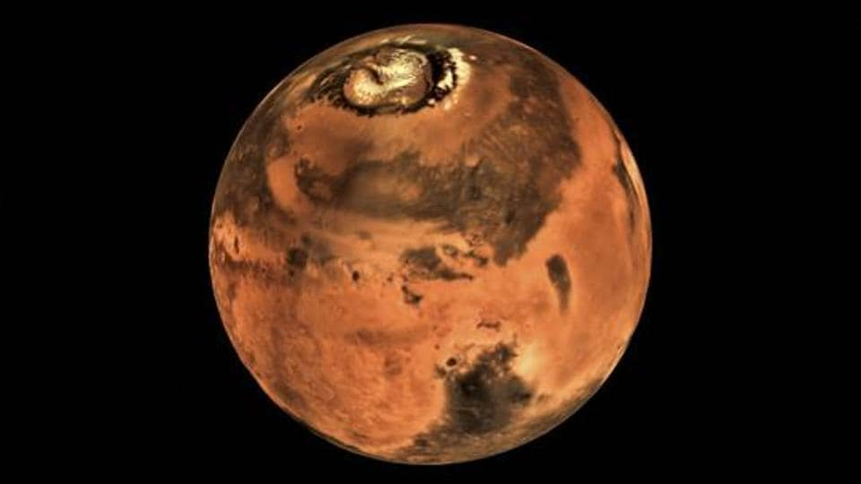 A picture of Mars taken by the Mars Colour Camera onboard India's Mars Orbiter Spacecraft.