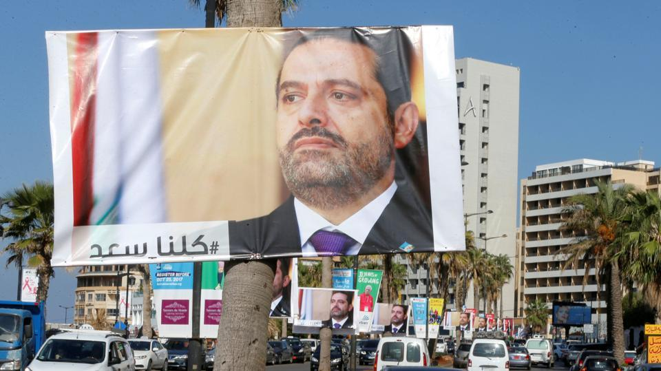 Posters depicting Lebanon's Prime Minister Saad al-Hariri, who has resigned from his post, are seen in Beirut, Lebanon, November 10, 2017.