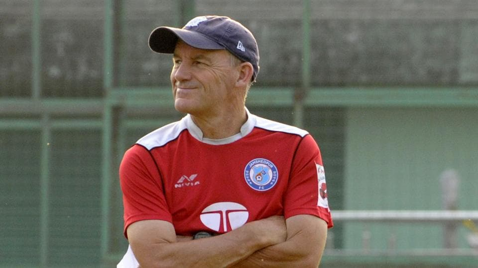 Jamshedpur FC Coach Steve Coppell before the training session at TFA ground at Jamshedpur in Jharkhand.