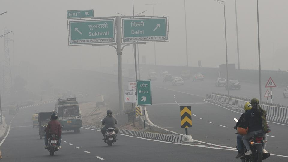 Smog envelops IFFCO chowk  in Gurgaon on Sunday.