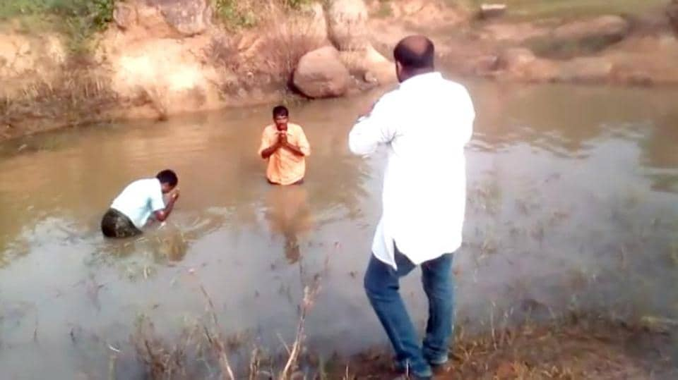 In the video Reddy forces them to enter a muddy pool on the roadside and drink from