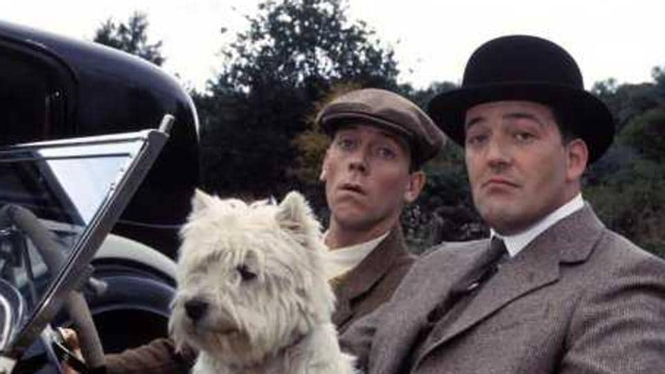 Stephen Fry (on right) and Hugh Laurie in a still from Jeeves and Wooster (1990), a British comedy-drama series adapted from British writer PG Wodehouse's Jeeves books.