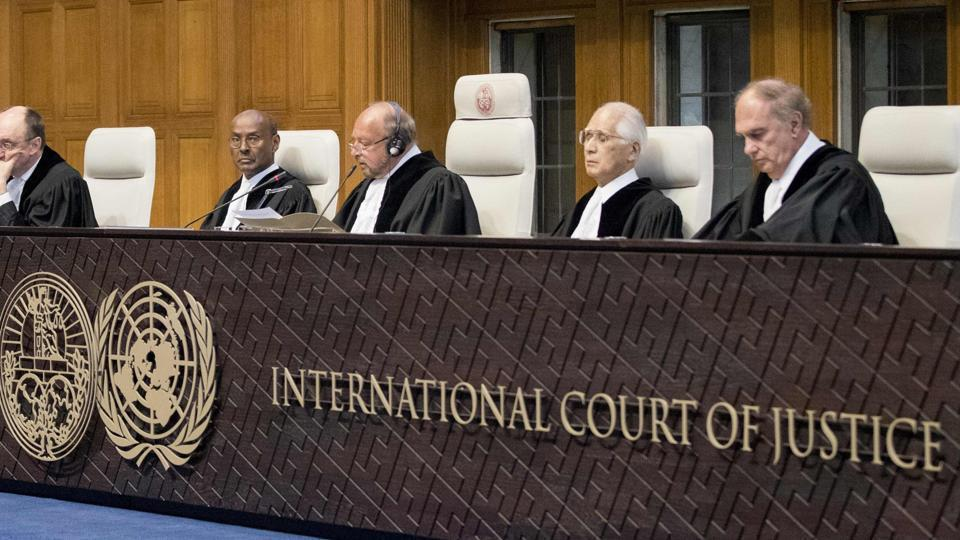 The judges' panel during the Kulbhushan Jadhav case on May 18, 2017.