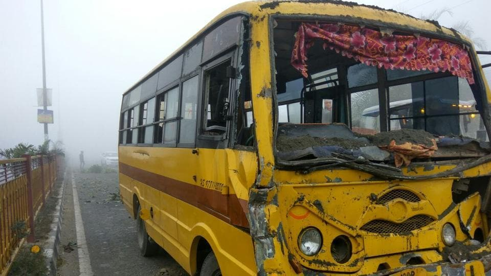 The school bus after the collision along Rajasansi road, Amritsar, on Monday.