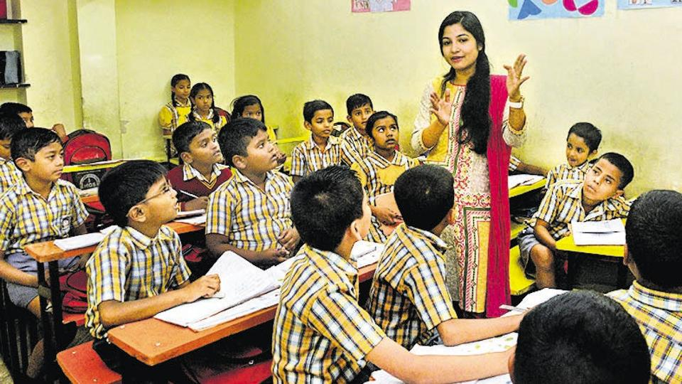 Principal Shalini Dubey has students wrapped in attention at the Mahatma Gandhi School.