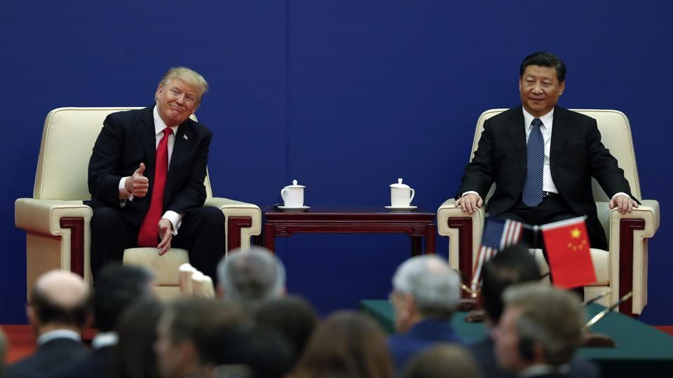 US President Donald Trump and Chinese President Xi Jinping during a business event Great Hall of the People Beijing November 9