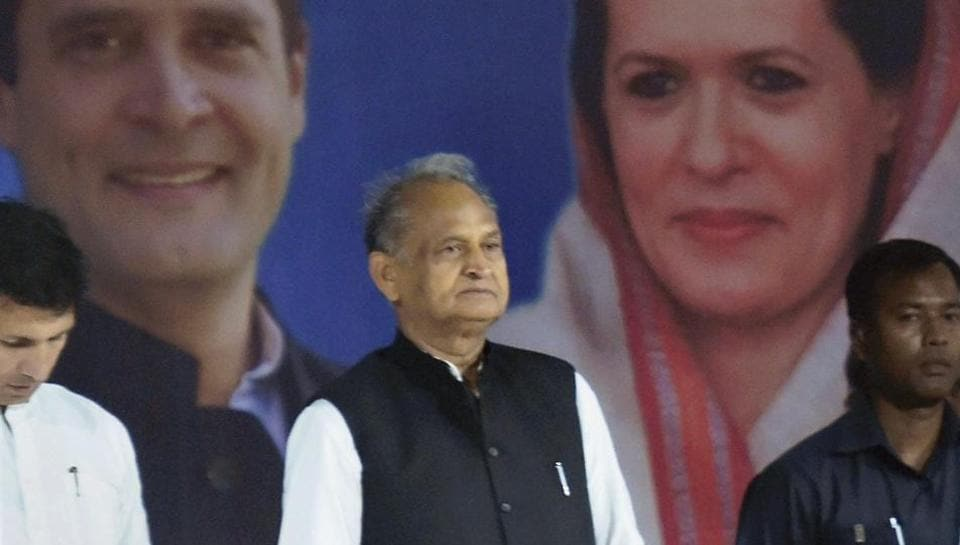 Congress leader Ashok Gehlot during an interactive session with traders and businessmen, in Ahmedabad.