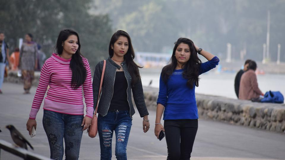 Visitors at the Sukhna Lake in Chandigarh on Sunday.