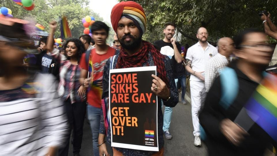 A member of the LGBTQ community poses for a photo during the annual queer pride held in Delhi. The first ever Delhi Queer Pride march was held in June 2008. Over the years the movement has seen an increase in popularity, with people from different backgrounds joining in support  against stigmas attached to members of the queer community. (Sanchit Khanna/HT PHOTO)