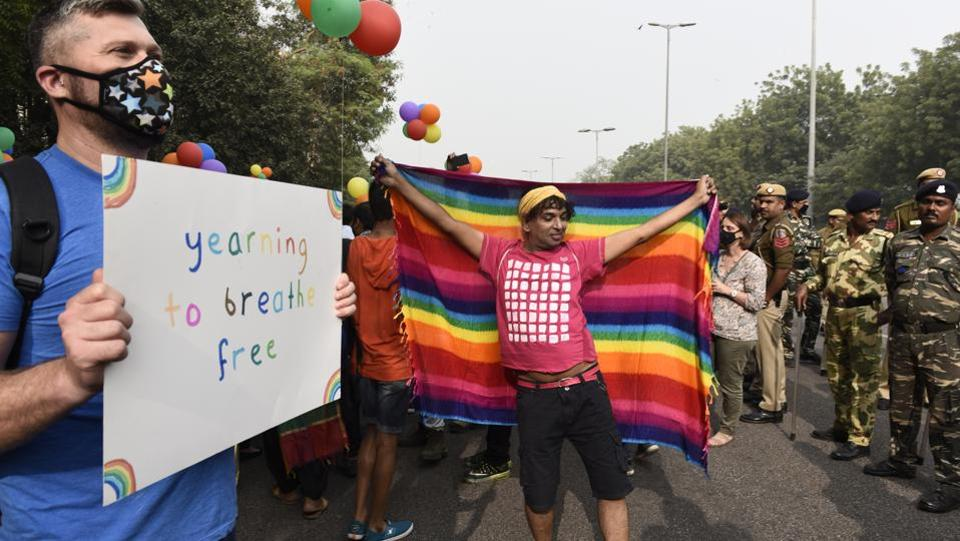 Hundreds of gay rights activists and allies, many wearing colourful costumes and holding pro-LGBTQ placards, marched through India's capital on Sunday in celebration but also defiance in a nation that continues to outlaw homosexual acts. (Sanchit Khanna/HT PHOTO)