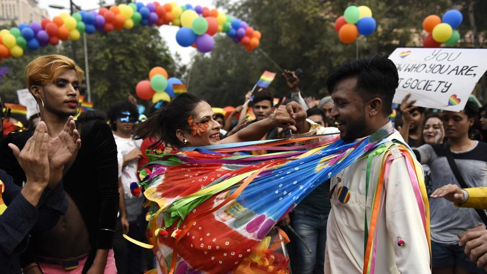 Supporters of the lesbian, gay, bisexual, transgender (LGBT) community take part in the pride parade. (Sanchit Khanna  / HT Photo)
