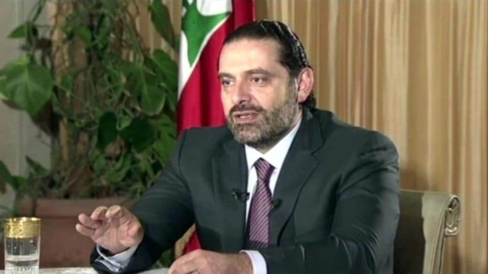"""Lebanon's Prime Minister Saad Hariri gives a live TV interview in Riyadh, Saudi Arabia, Sunday Nov. 12, 2017, saying he will return to his country """"within days""""."""