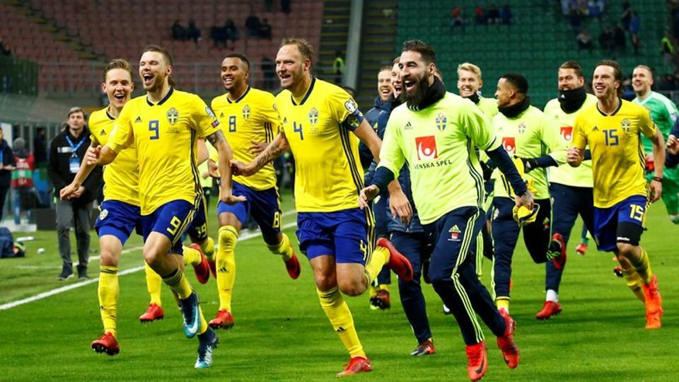 Sweden celebrate after their FIFA World Cup play-off match against Italy. (REUTERS)